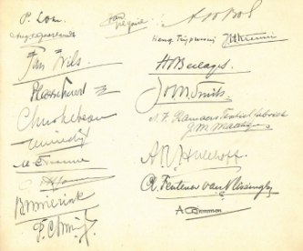 Aanwezigen bijeenkomst 26 maart 1926, o.a. Hein Berlage, Chris Lebeau, Allard Hulshoff en Jan Wils