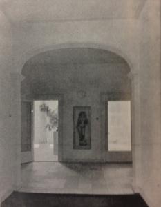 Woonhuis Molenpad, doorzicht vanuit de hal naar werkkamer (links) en woonkamer (rechts)