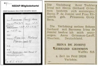 Lidmaatschap NSDAP Anna Grimmon & advertentie verloving Gerardo Grimmon